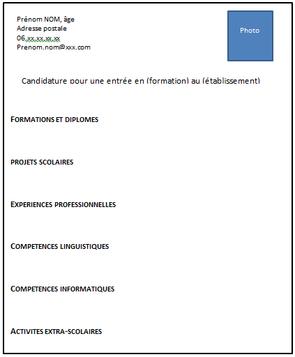 exemple cv admission iut